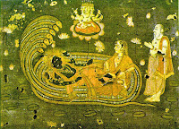 Celestial sage Markandeya with Vishnu (the energy source), every lotus in the picture represents a universe (multiverse)