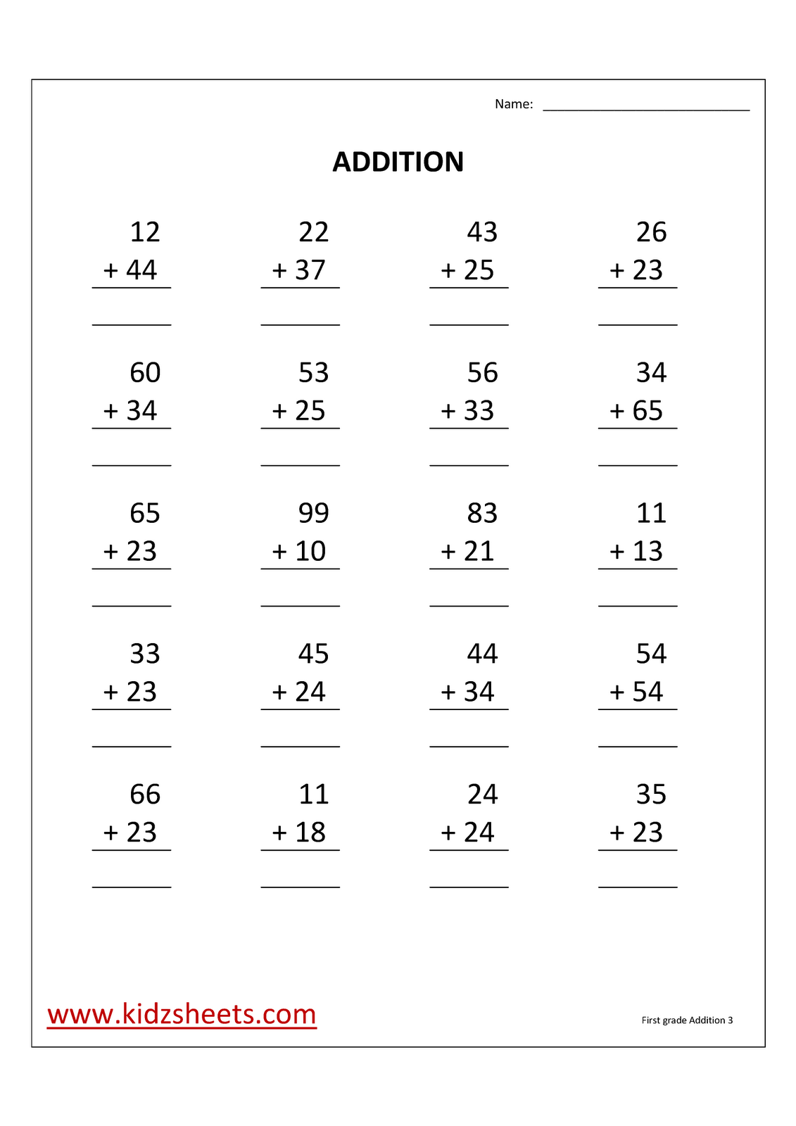 Kidz Worksheets First Grade Addition Worksheet3