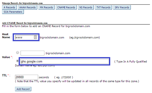 Adding First CNAME Record In DNS Management Page