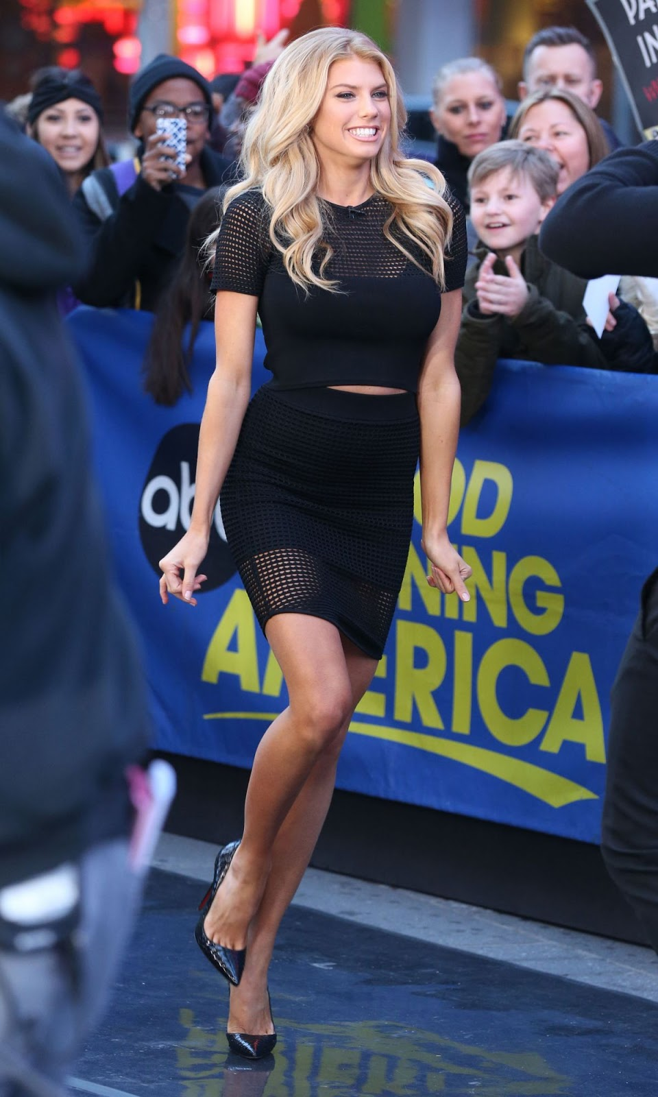 Full HQ Photos of Charlotte Mckinney in Black dress at Good Morning America