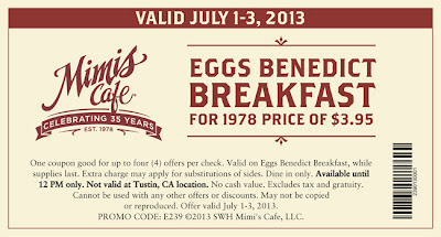 photo relating to Mimi's Coupons Printable titled Mimis Restaurant - Eggs Benedict Breakfast Simply $3.95 (July 1-3