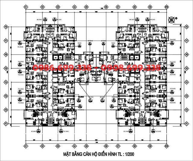 Mặt bằng căn hộ chung cư AZ Sky Định Công