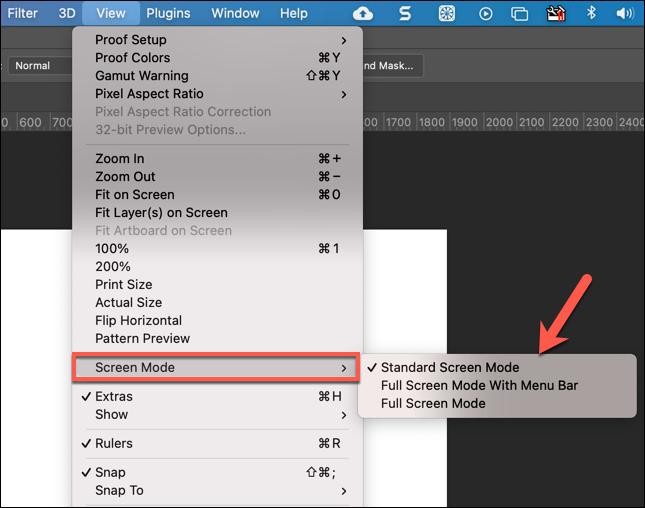 لتغيير أوضاع الشاشة في Photoshop ، اضغط على View> Screen Mode وحدد بديلًا.