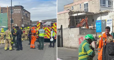A site worker has been crushed to death after a two-storey building collapsed in Tottenham, north London