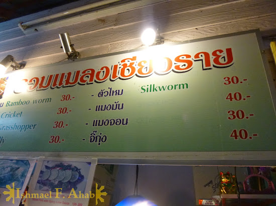North Thailand - Prices of bugs in Chiang Rai Night Market