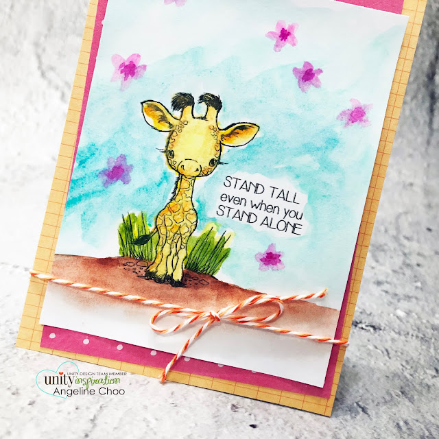 ScrappyScrappy: New Releases with Unity Stamp - Cuddlebug Giraffe #scrappyscrappy #unitystampco #quicktipvideo #youtube #card #cardmaking #stamping #papercrafting #handmadecard #cuddlebuggiraffe #watercolorpainting #giraffestamp #trendytwine