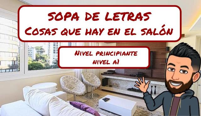 SOPA DE LETRAS - COSAS TÍPICAS QUE HAY EN EL SALÓN DE CASA