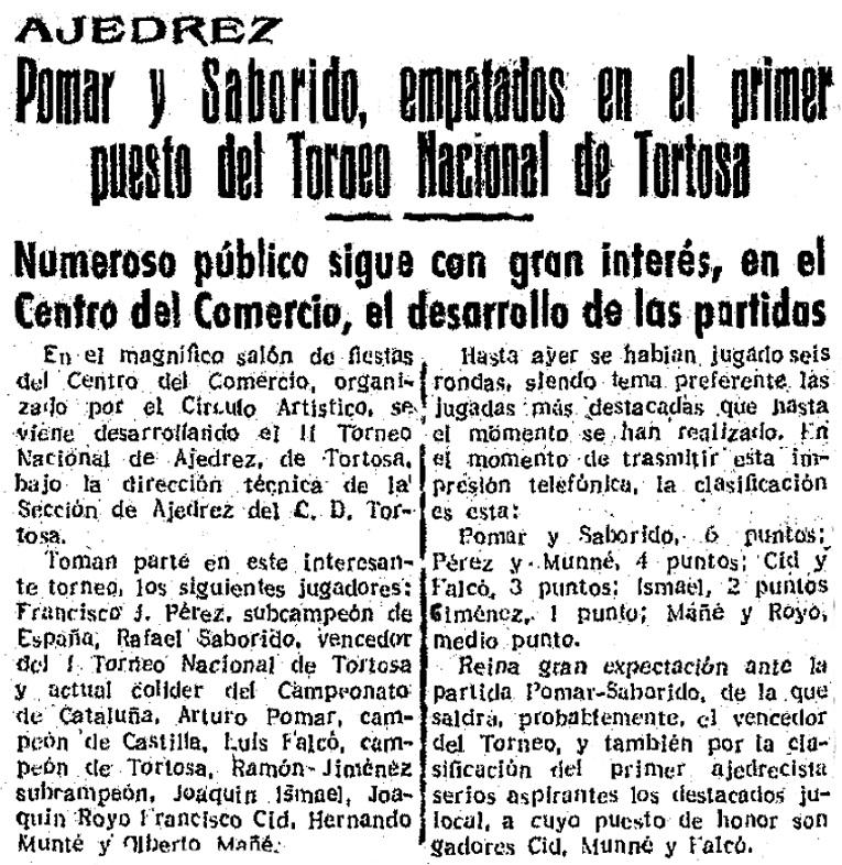 Recorte del Diario Español sobre el Torneo Nacional de Ajedrez de Tortosa 1950