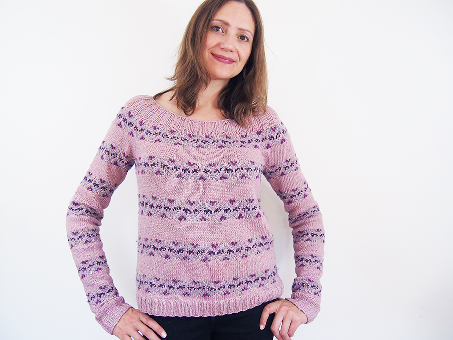 Fair Isle Band Pullover by Lone Kjeldsen from Vogue Knitting, knit by Dayana Knits