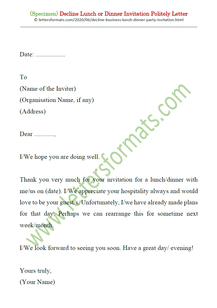 Decline Lunch Dinner Party Business Invitation Letter Sample