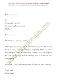 decline dinner invitation sample letter