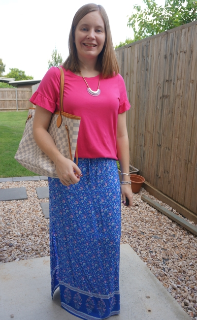 Jeanswest Ruby frill sleeve tee in fuchsia with Ally Fashion floral print maxi skirt louis vuitton MM damier azur | away from blue
