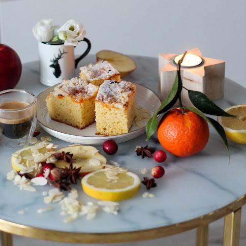 Puszyste ciasto z mandarynkami