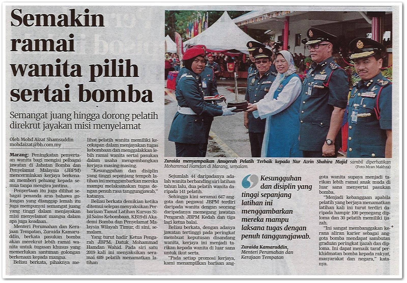 Semakin ramai wanita pilih sertai bomba - Keratan akhbar Berita Harian 18 Disember 2019