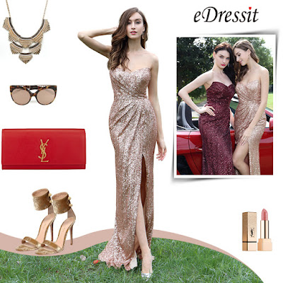 Elegant Light Golden Sweetheart Sequin Dress