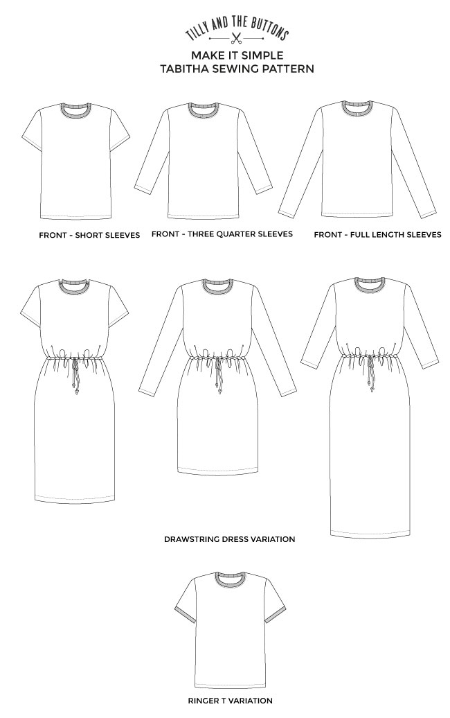 Tabitha T-shirt sewing pattern - Make It Simple - Tilly and the Buttons