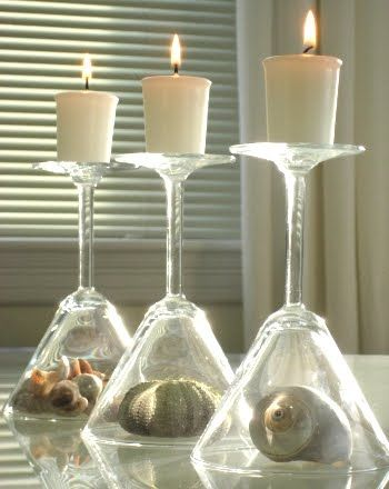 Wine Glass Cloche Candle Holder Table Centerpiece Idea