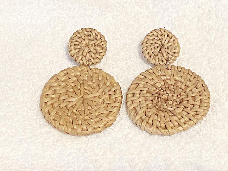 rattan statement earrings