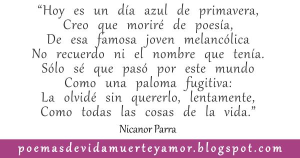 verso del Poema de amor de Nicanor Parra - es olvido