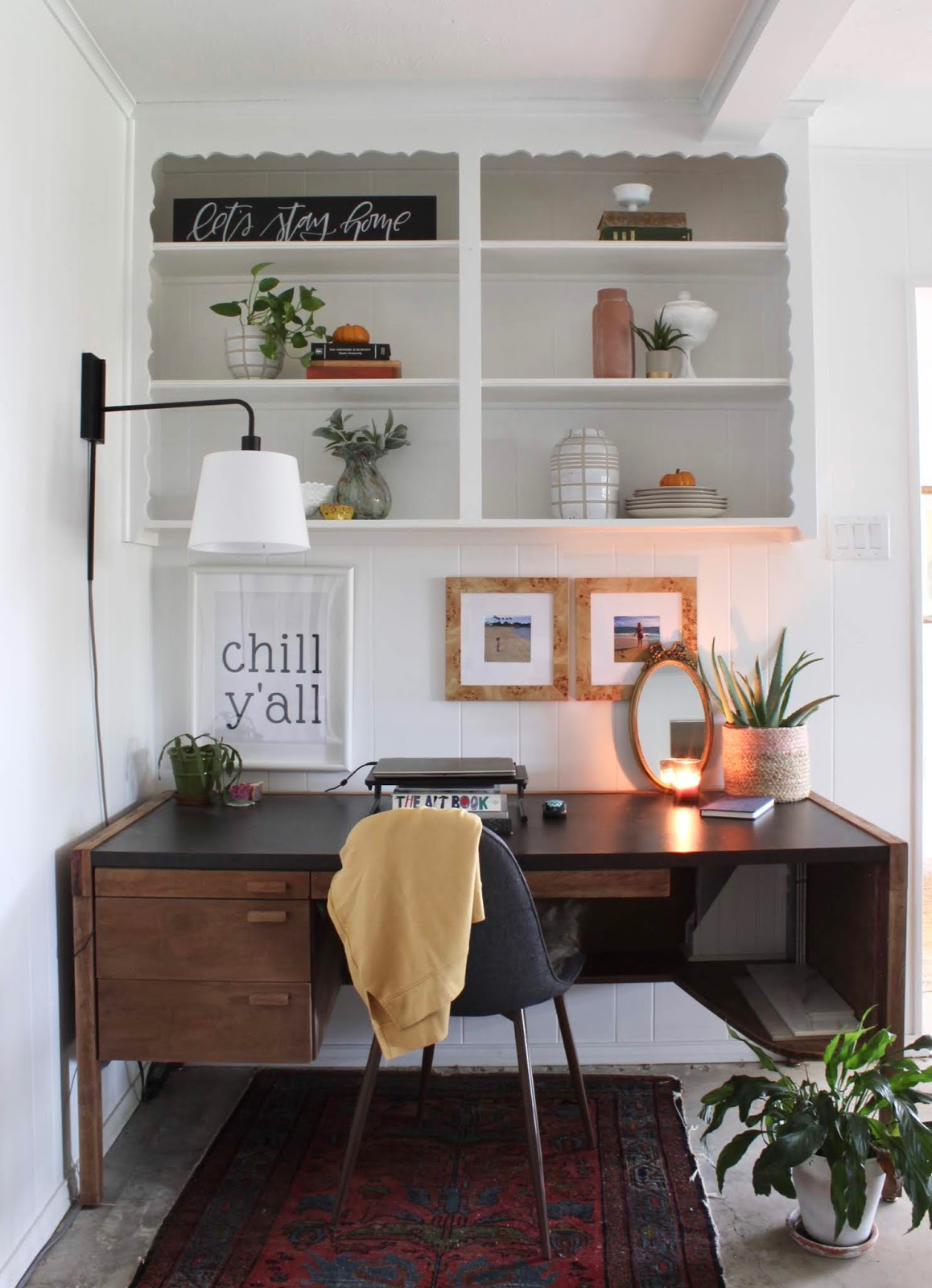 Something different late fall home tour mid century desk work space in living room| House Homemade