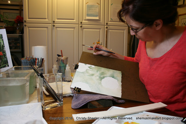 artist Christy Sheeler painting watercolor poppies in the studio 2016