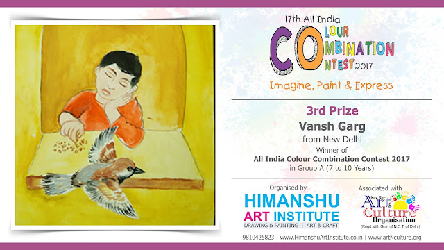 3rd Prize WInner Vansh Garg from New Delhi in All India National Level Painting Competition for Kids