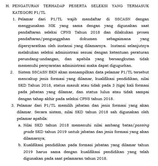 P1/TL Mendapatkan Keistimewaan Dalam Perekrutan CPNS 2019, Berikut Juknis Pengadaan CPNS 2019