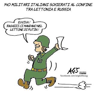Lettonia, Putin, NATO, satira, vignetta
