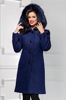Palton bleumarin lung elegant din lana