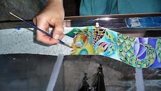 malowanie na jedwabiu, wstążki jedwabnej
