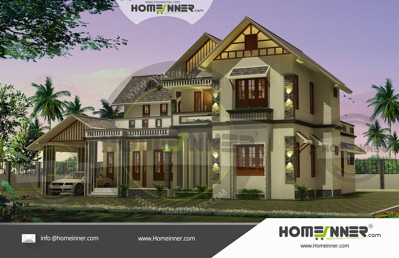 Modern Luxury 4 Bedroom Traditional Slope roof Kerala Home Design