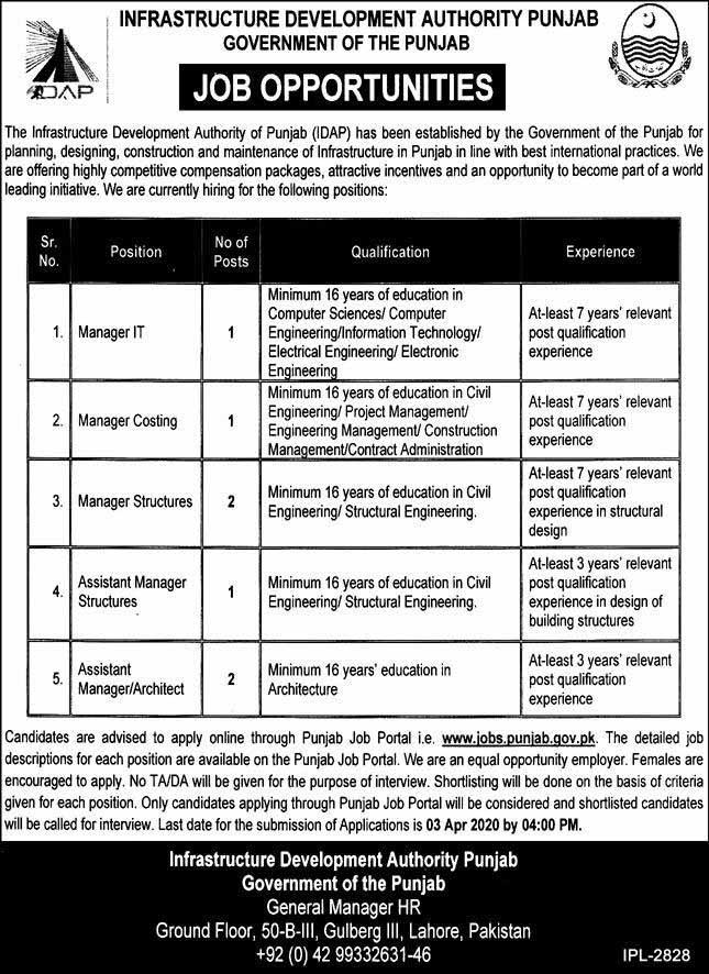 Infrastructure Development Authority Punjab IDAP Jobs