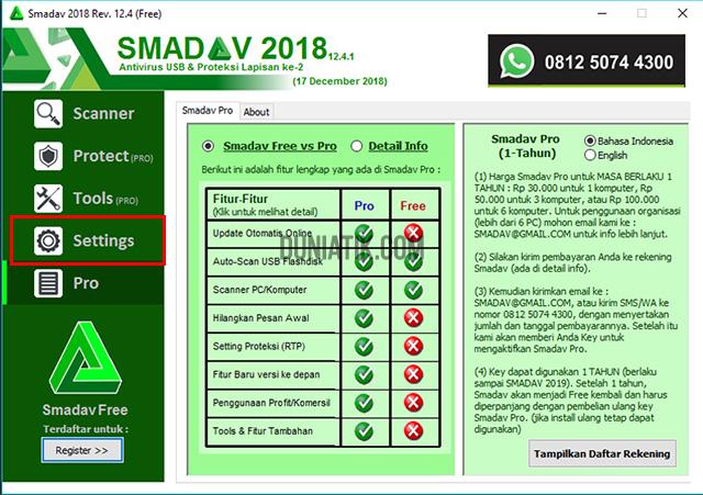 Cara Membeli Antivirus SMADAV Pro Yang Resmi - menu settings