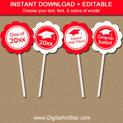 red and white printable graduation party cupcake toppers