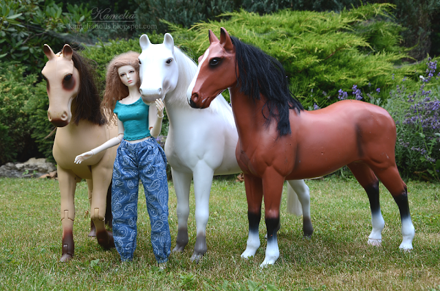 1/4 scale BJD doll and horses