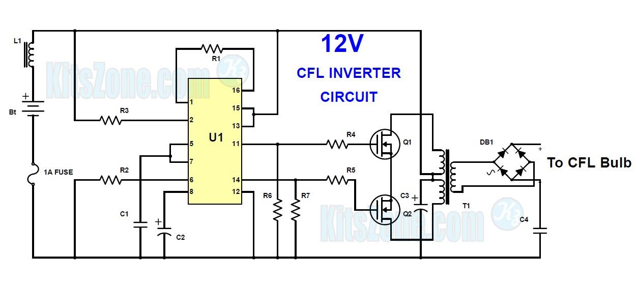 12V CFL Emergency Light Circuit Using 3525 IC | Mini ...