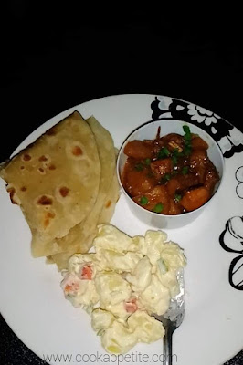 Roti|Chapati Recipe Served With Chicken And Potato Salad