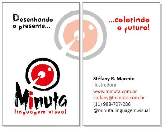 Exemplo de aplicação de logotipo em cartão de visitas Minuta Linguagem Visual