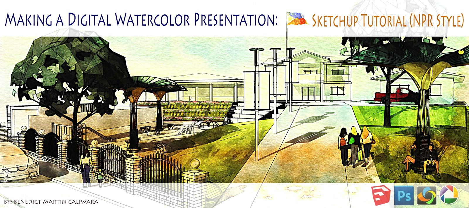 L arch viz making a digital watercolor presentation for Architecture technique