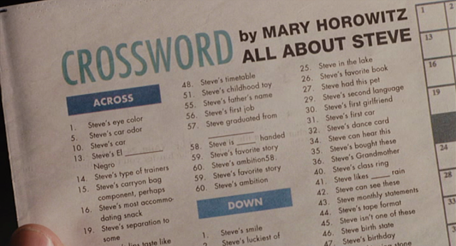 Das Kreuzworträtsel über Marys Schwarm Steve.
