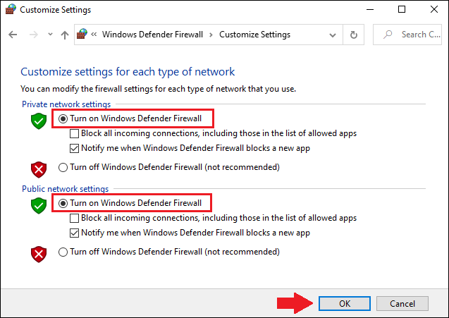 Enable Windows Defender Firewall