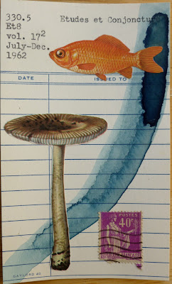 Dada Fluxus library card mail art mushroom goldfish French Postage Stamp collage