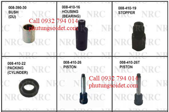 Stopper 008-410-19 Packing (Cylinder) 008-410-22 Piston 008-410-26 Piston 008-410-26T Nut (Bearing) 008-410-54 Rod (Increase) 008-421-4X