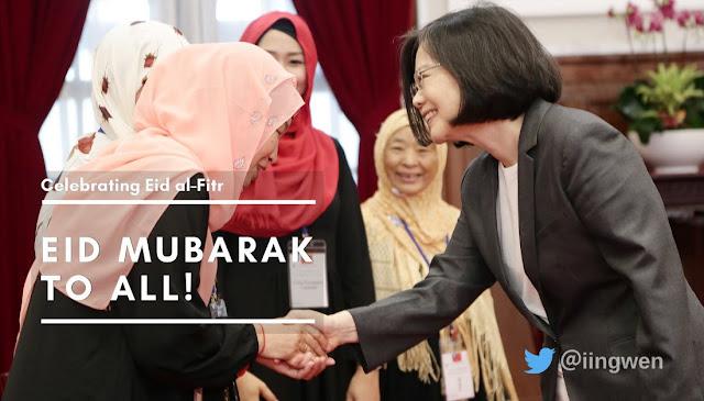 Presiden Taiwan mengucapkan Eid Mubarak kepada umat muslim Taiwan