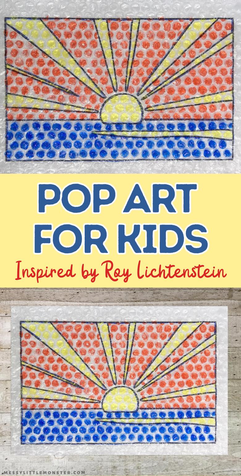 Roy Lichtenstein for kids. Sunrise pop art for kids using bubble wrap with sunrise template