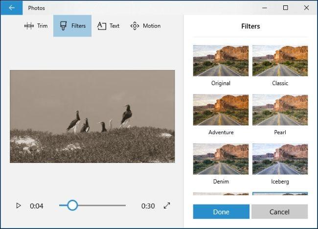 تطبيق المرشحات على مقطع فيديو في تطبيق الصور.