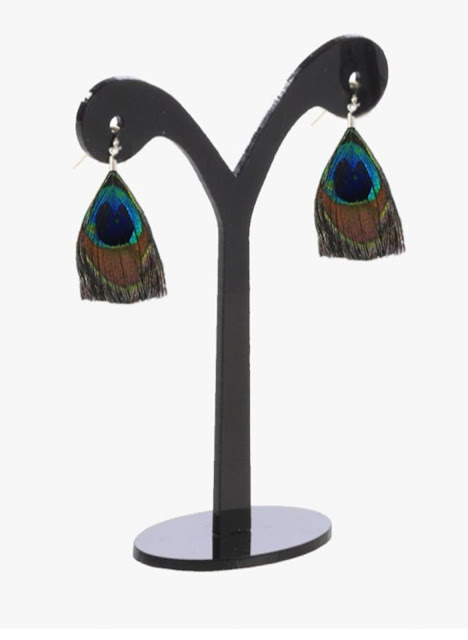 Peacock Feather Tassel Earrings-