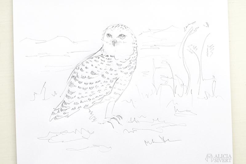 aliciasivert alicia sivert sivertsson broderi skiss uggla fjälluggla fjäll fjällen fjällmotiv owl sketch