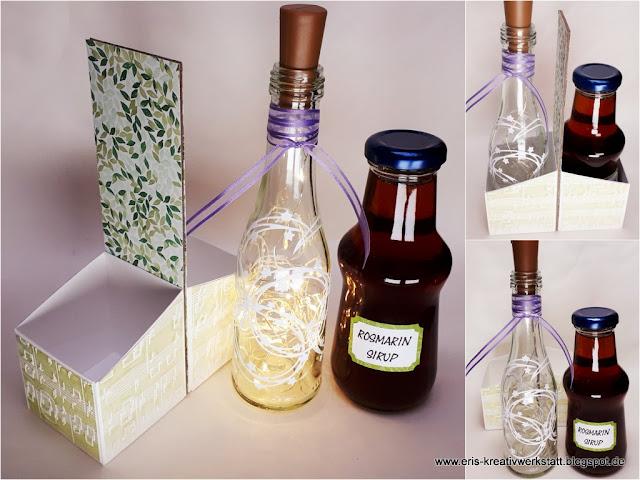 Teamtreffen: Flaschenhalter mit Sirup und Lichtflasche als Geschenk Stampin' Up! www.eris-kreativwerkstatt.blogspot.de