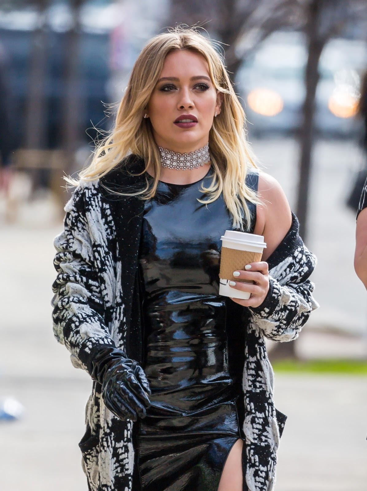 Lovely Ladies in Leather: Hilary Duff in a patent leather ... Hilary Duff